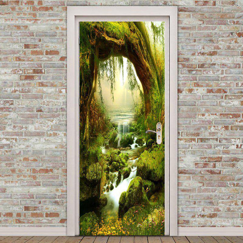 Home Decor Forest Tree Streams Printed Door Stickers