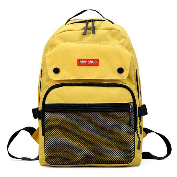 Multi Function Mesh Pockets Backpack - YELLOW