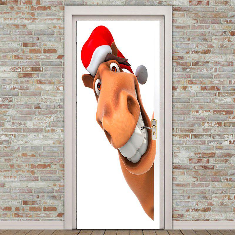 Christmas Giraffe Printed Removable Door Stickers - WHITE/BROWN 38.5*200CM*2PCS