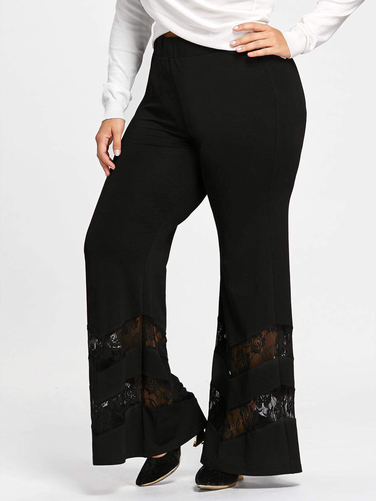 Plus Size Lace Trim Flare Pants - BLACK 5XL