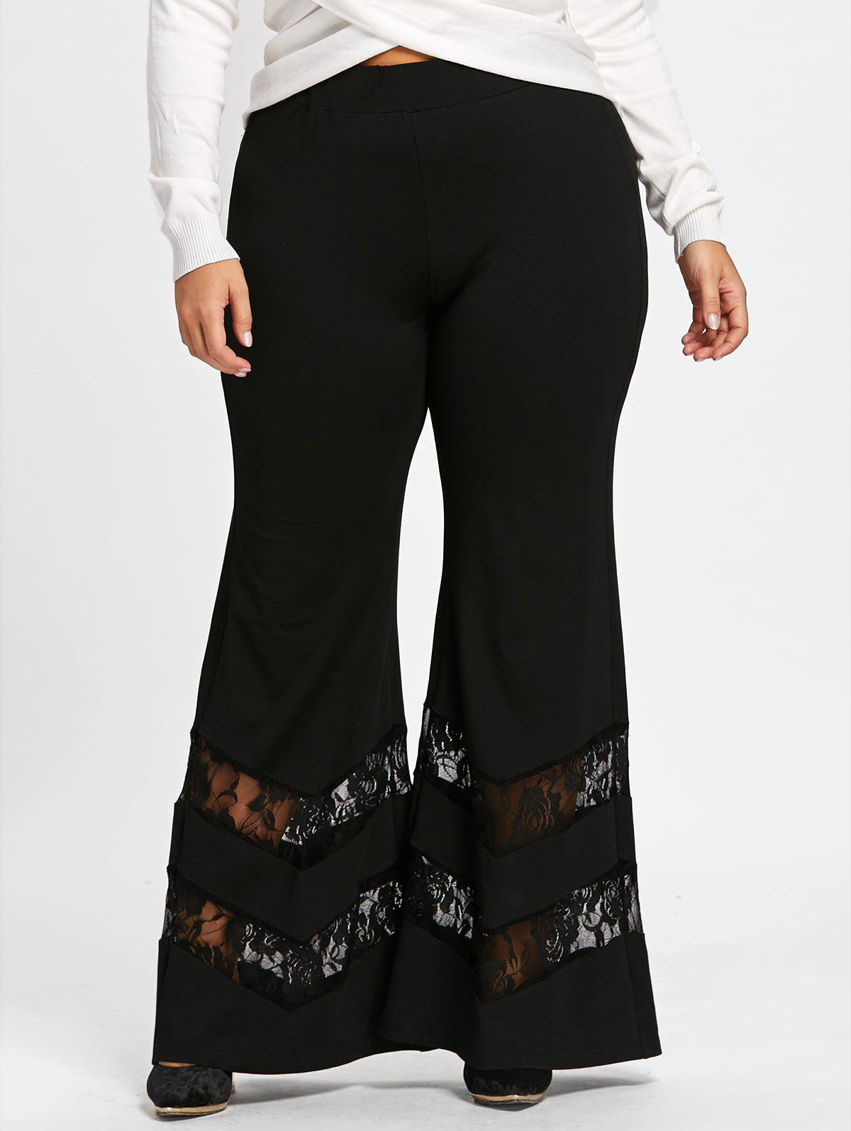 Plus Size Lace Trim Flare Pants - BLACK 4XL
