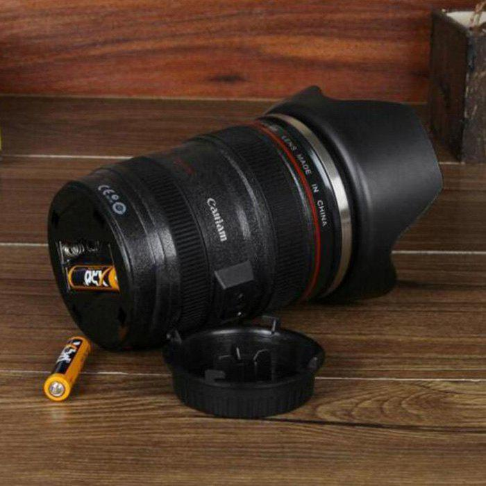 SLR Camera Lens Shape Creative Electric Stirring Coffee Cup - BLACK 8.2*12.7CM