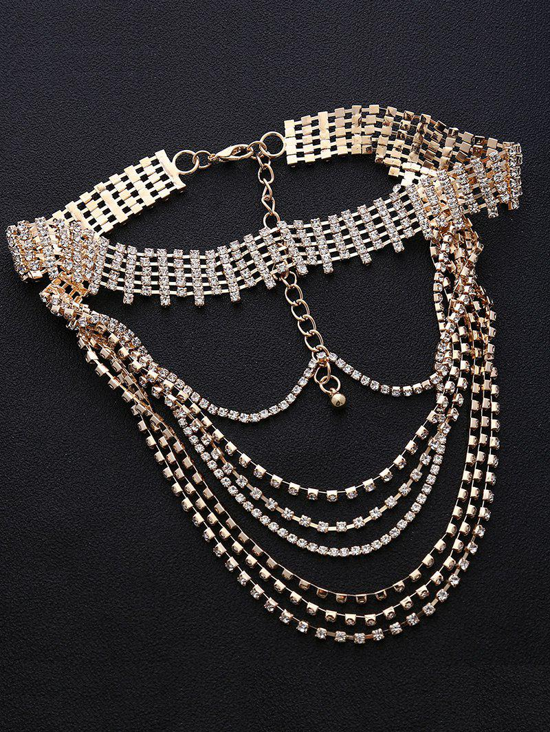 Multilayered Faux Crystal Chokers Necklace - GOLDEN