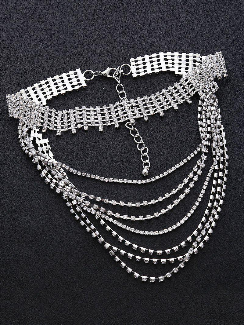 Multilayered Faux Crystal Chokers Necklace - SILVER