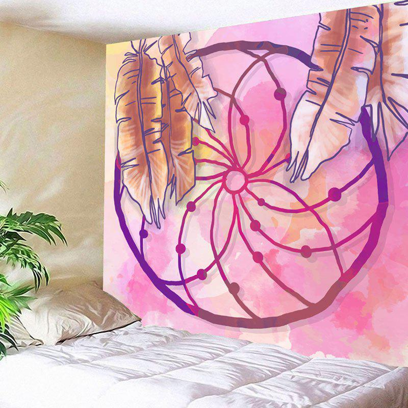 Wall Hanging Dreamcatcher Printed Tapestry chic fluorescent circular net with feathers dreamcatcher wall hanging decor