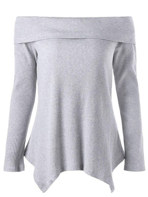 Off Shoulder Long Sleeve Irregular Knitwear - GRAY 2XL