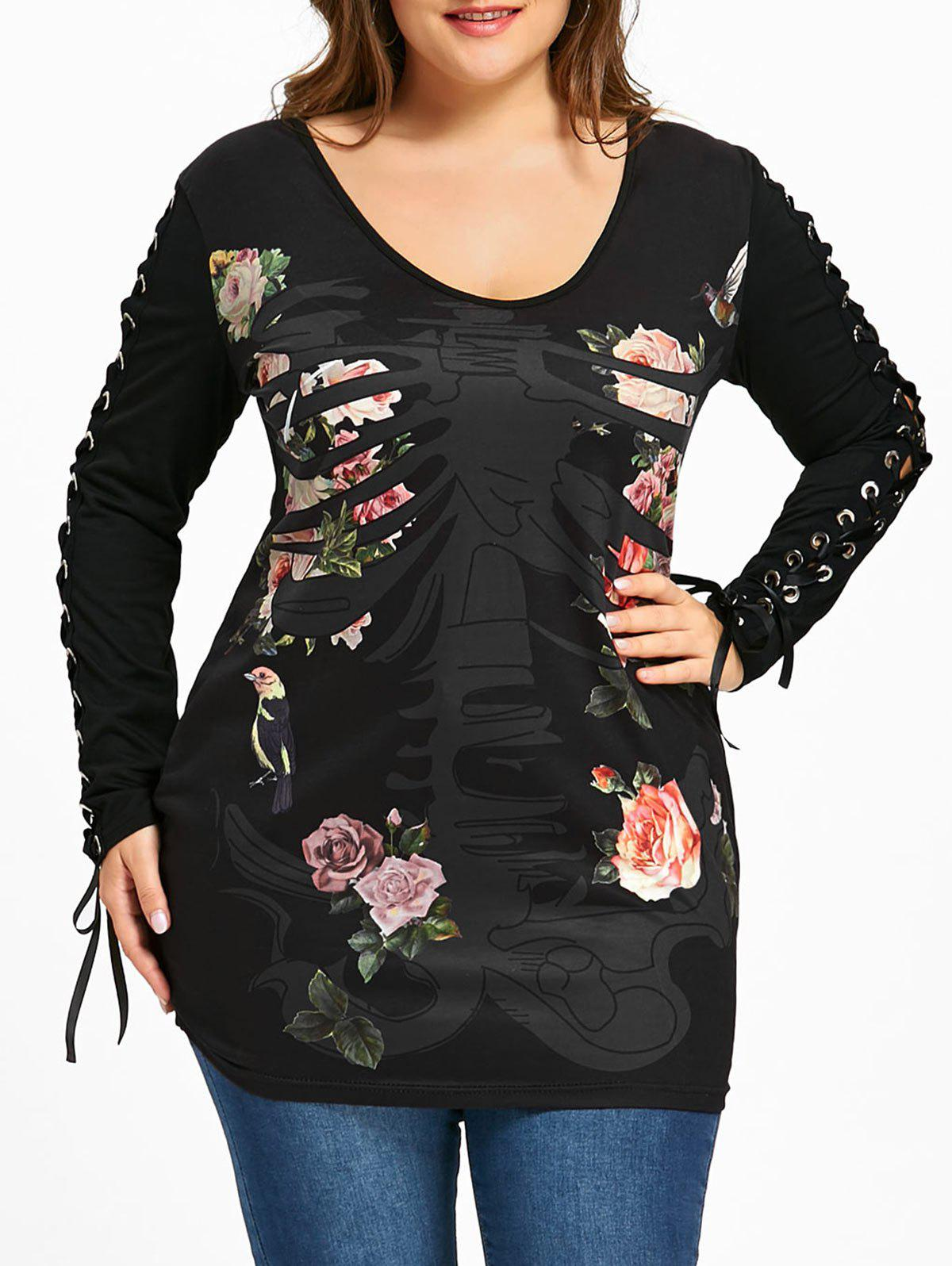Plus Size Floral Skeletal Lace Up T-shirt - BLACK 5XL