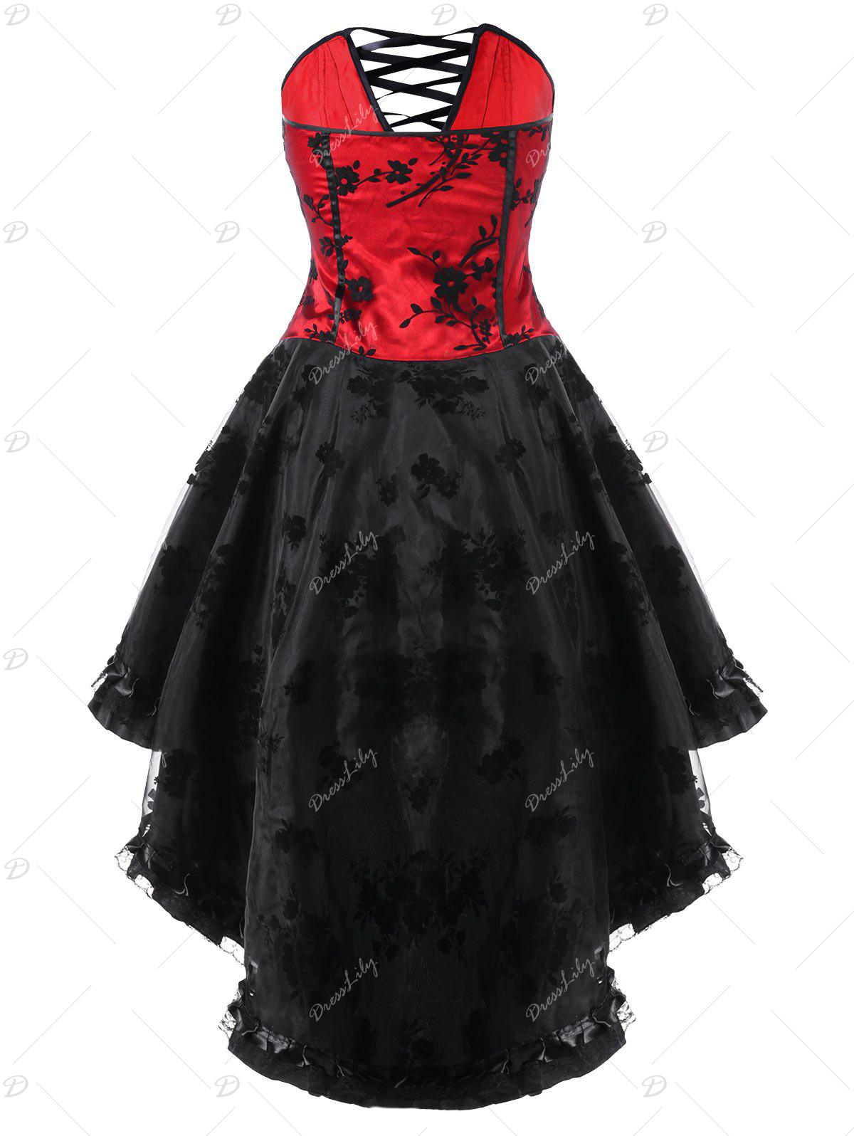 Lace Up High Low Hem Tube Corset Dress - RED/BLACK M