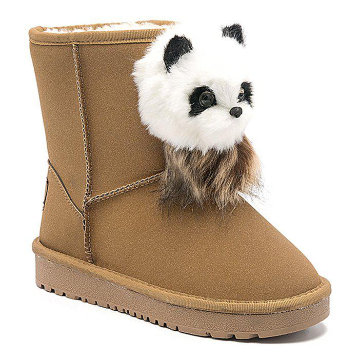 Dresslily Faux Fur Bear Pendant Slip On Snow Boots