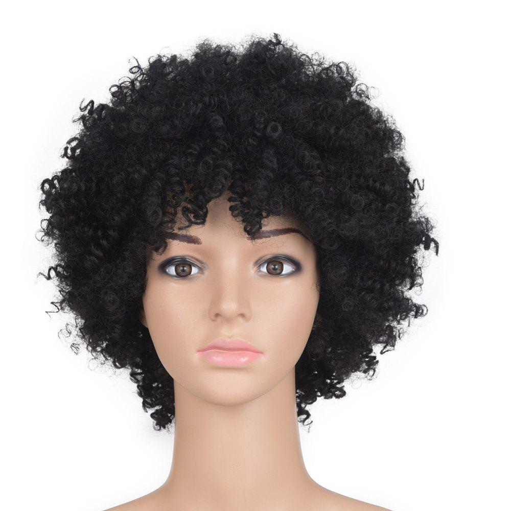 Medium Inclined Fringe Shaggy Afro Kinky Curly Synthetic Wig - BLACK
