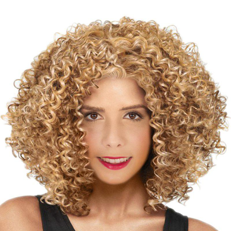 Medium Inclined Bang Fluffy Afro Kinky Curly Synthetic Wig - VENETIAN GOLD