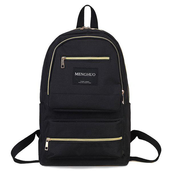 Letter Multi Pockets Backpack - BLACK