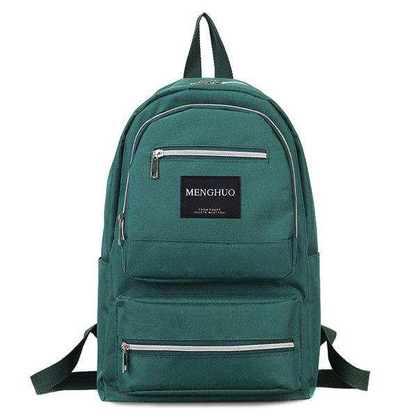 Letter Multi Pockets Backpack - GREEN