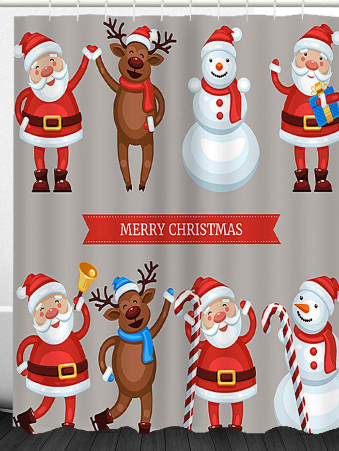 Waterproof Santa Snowman Elk Printed Christmas Shower Curtain - COLORFUL W59 INCH * L71 INCH