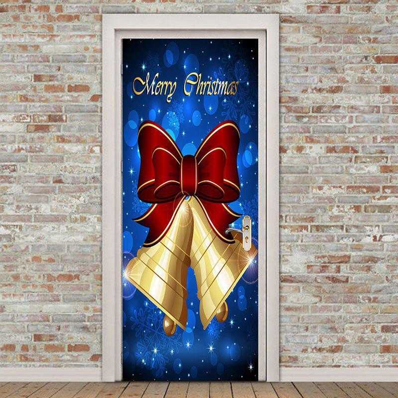Christmas Bell Bownot Pattern Door Art Stickers - COLORFUL 38.5*200CM*2PCS