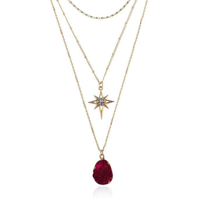 Natural Stone Star Geometric Layered Necklace - VALENTINE