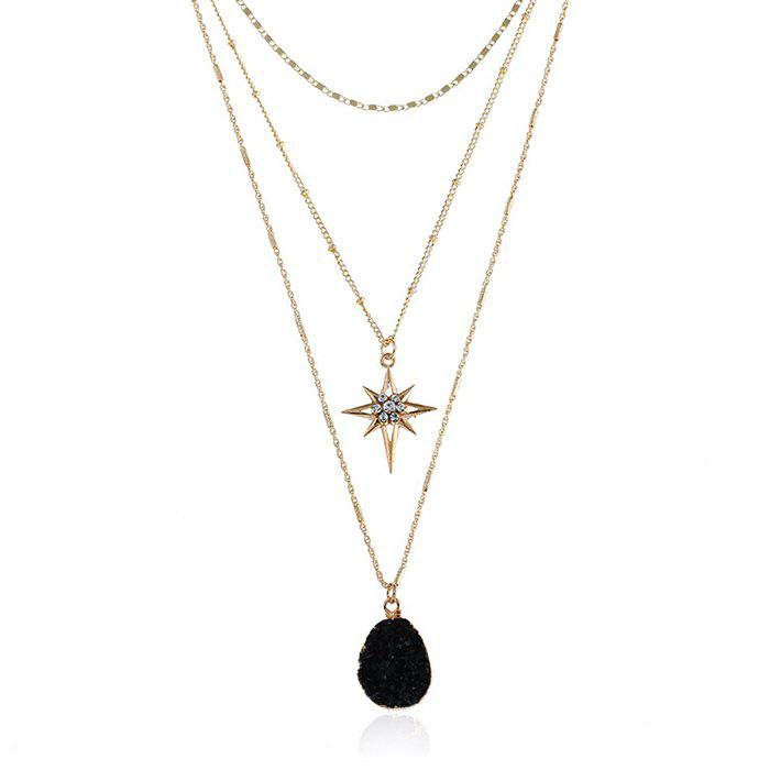 Natural Stone Star Geometric Layered Necklace - BLACK