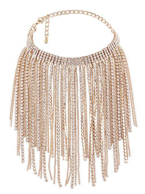 Faux Crystal Multilayer Long Tassel Chokers Necklace - GOLDEN