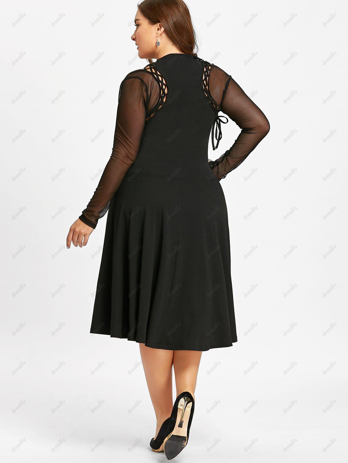 Plus Size Lace Up Cutout Gothic Dress - BLACK XL