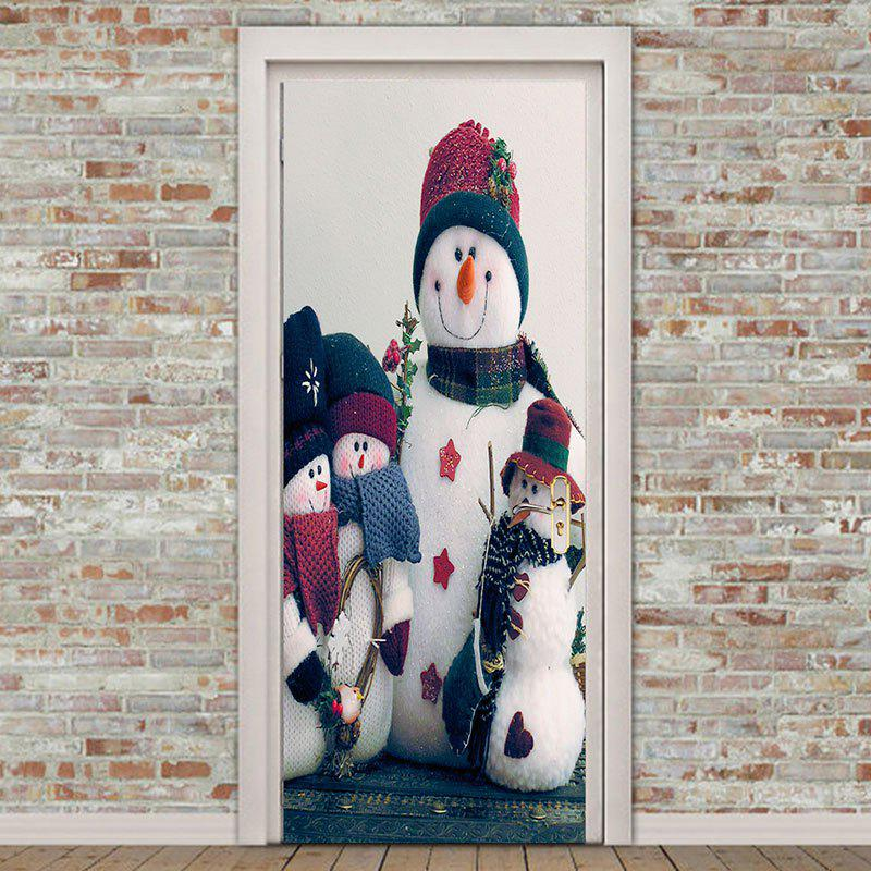 2Pcs Christmas Snowmen Printed Environmental Removable Door Stickers - COLORFUL 38.5*200CM*2PCS