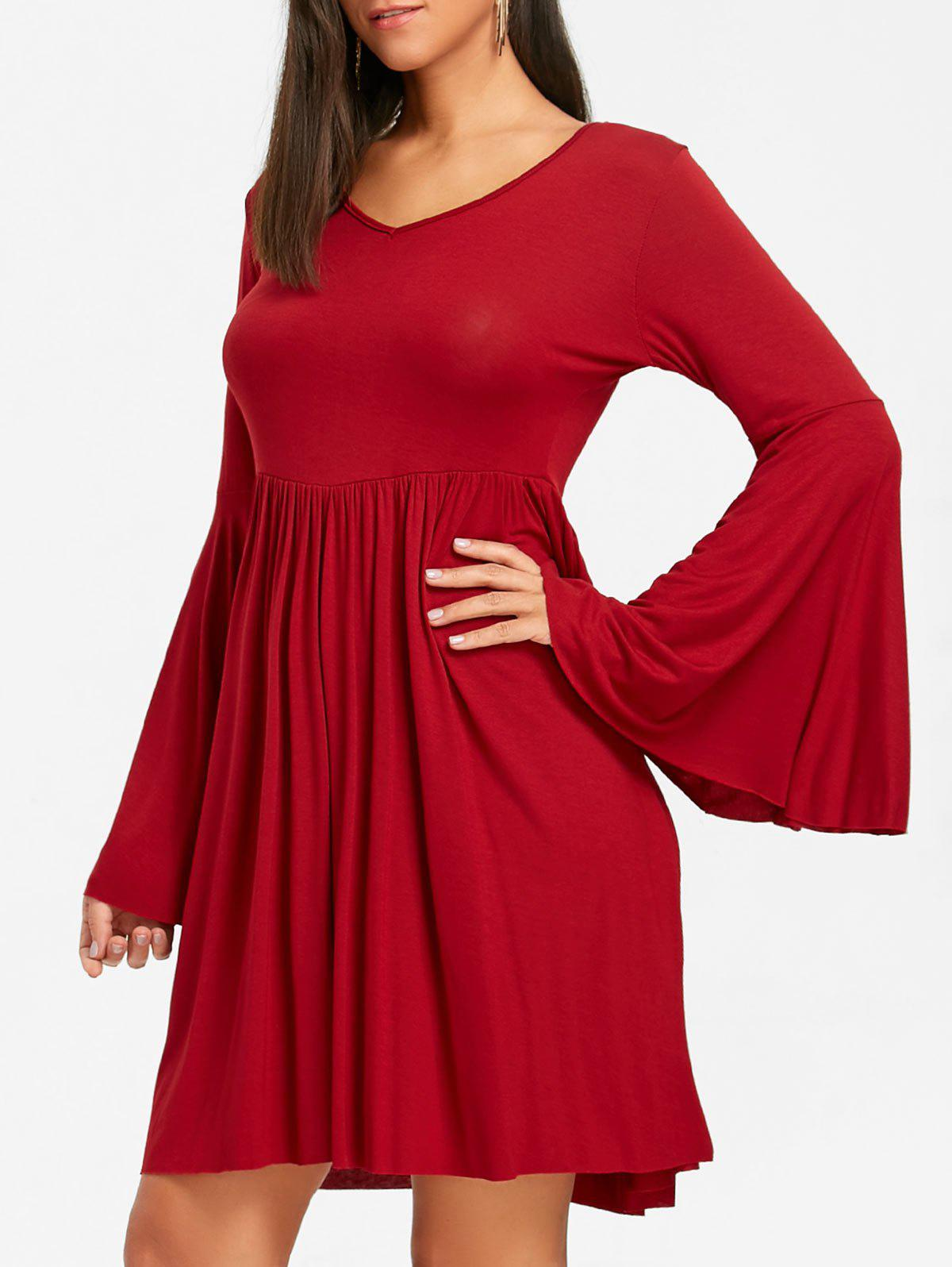 Cut Out Bell Sleeve Swing Mini Dress - RED 2XL