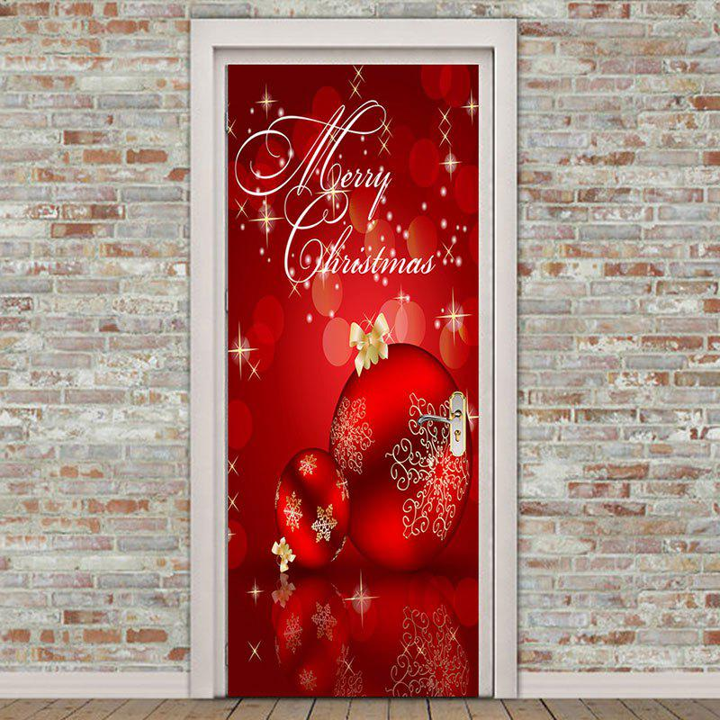 ... Environmental Removable Red Christmas Balls Printed Door Stickers - RED 38.5*200CM*2PCS ...