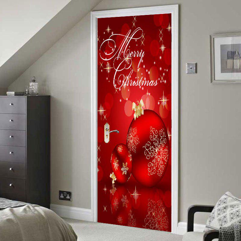 Environmental Removable Red Christmas Balls Printed Door Stickers   RED  38.5*200CM*2PCS
