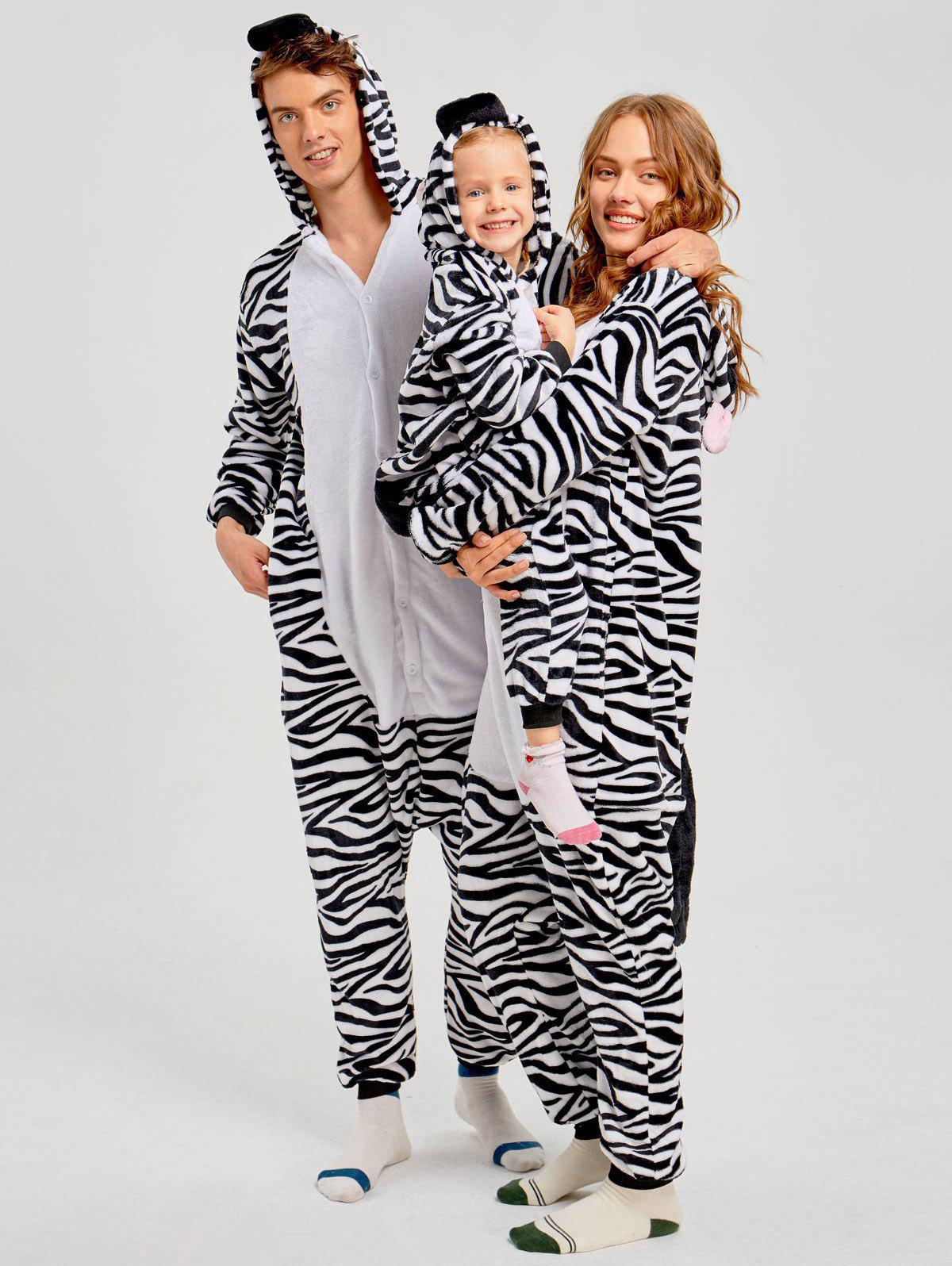 Zebra Animal Family Christmas Onesie Pajama - ZEBRA STRIPE DAD L