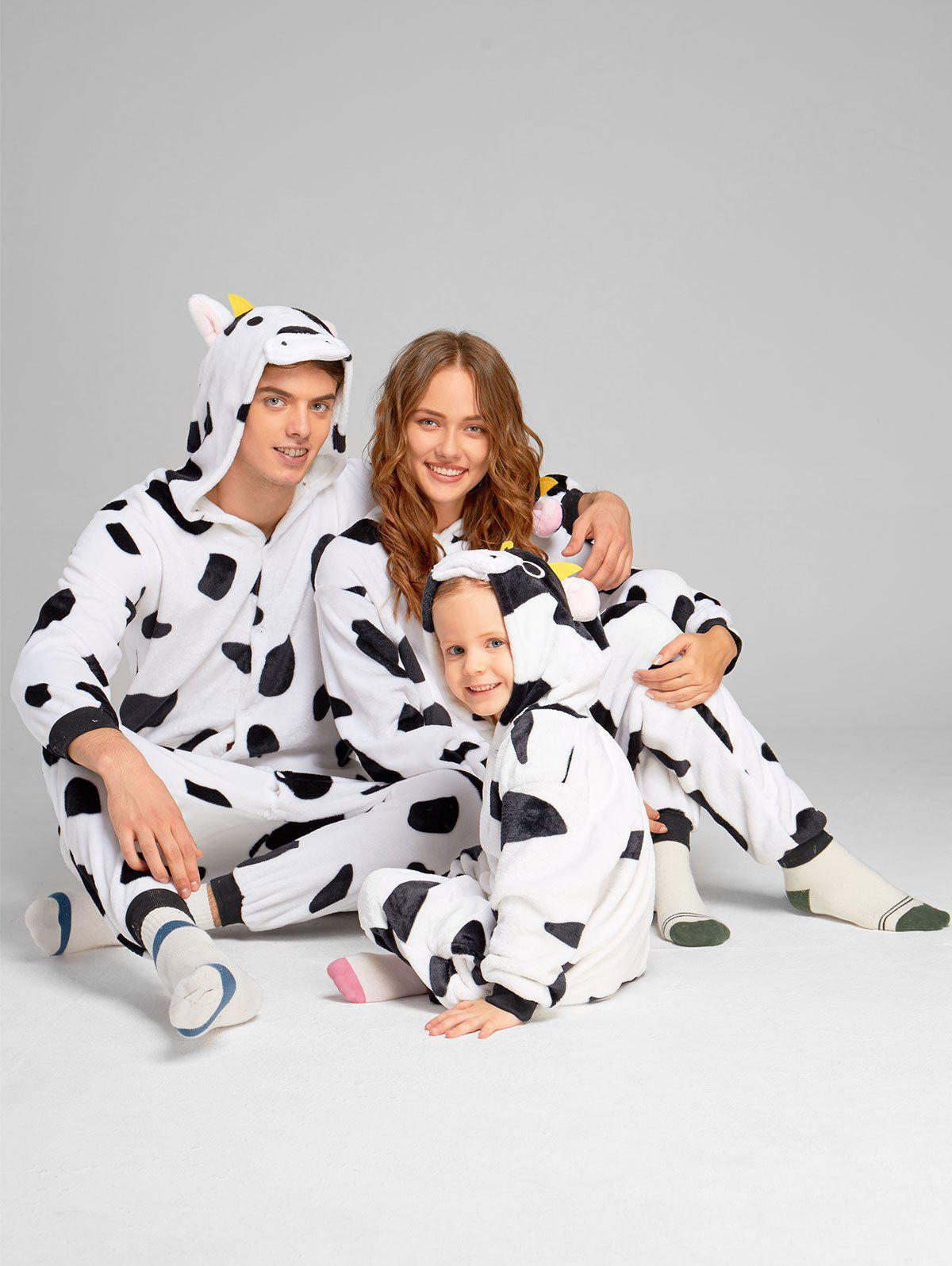 Milch Cow Matching Family Christmas Animal Onesie Pajamas - WHITE/BLACK KID 120