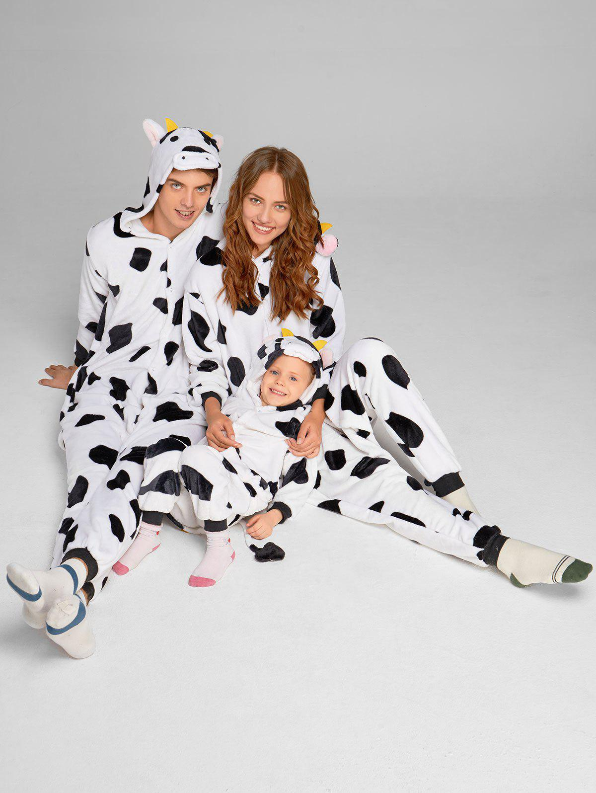 Milch Cow Matching Family Christmas Animal Onesie Pajamas - WHITE/BLACK DAD L