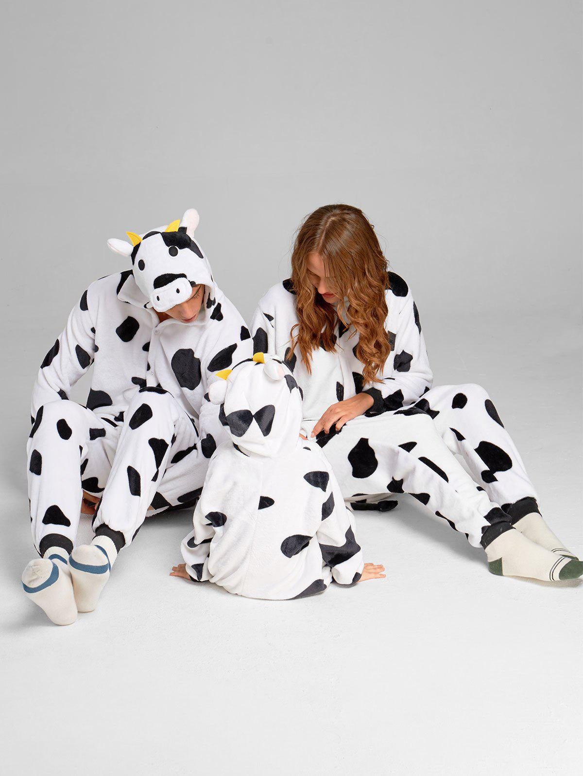 Milch Cow Matching Family Christmas Animal Onesie Pajamas - WHITE/BLACK DAD XL