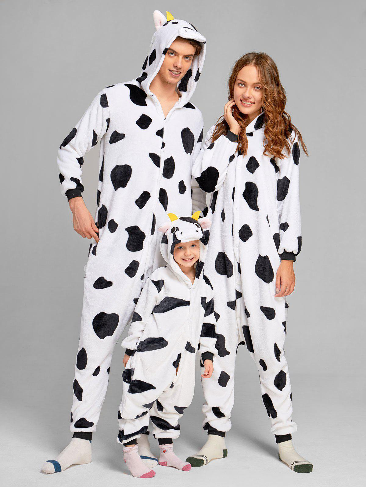 Milch Cow Matching Family Christmas Animal Onesie Pajamas - WHITE/BLACK MOM M