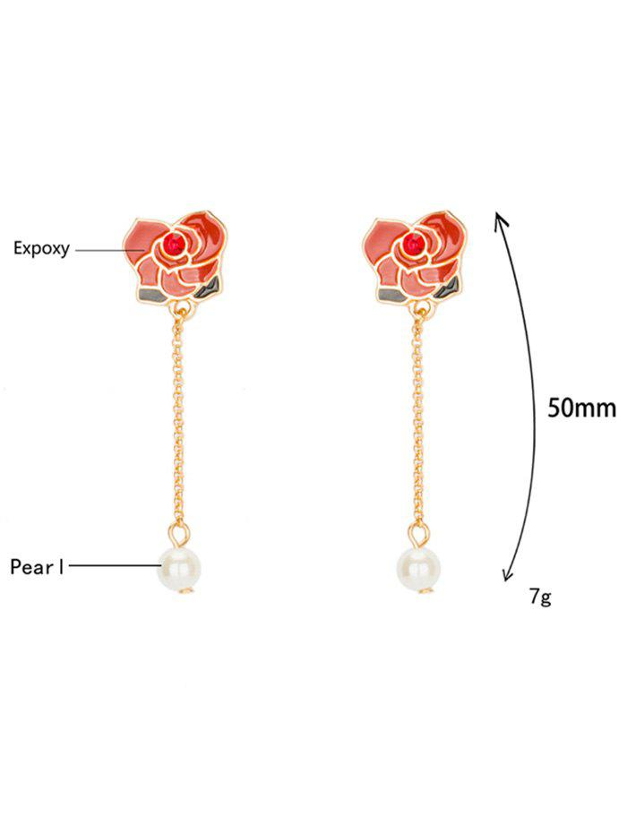 Faux Pearl Rhinestone Flower Chain Earrings - RED