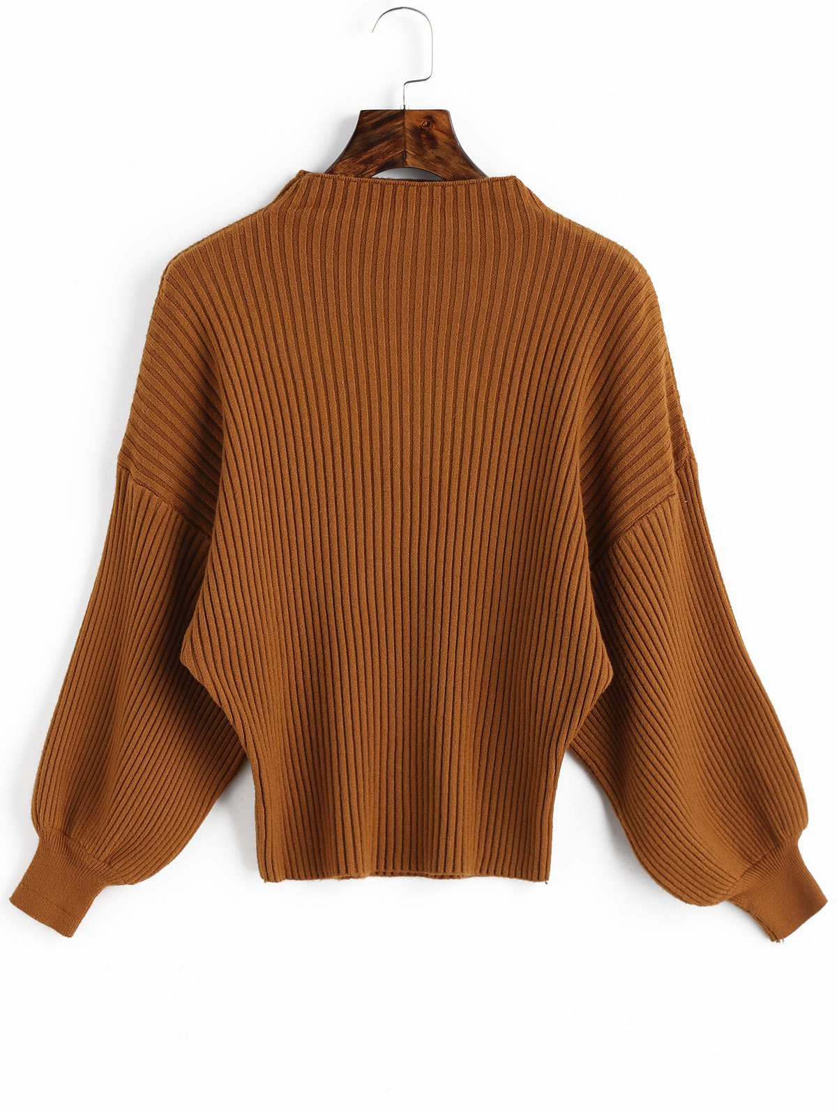 Ribbed Mock Neck Lantern Sleeve Sweater - LIGHT BROWN ONE SIZE