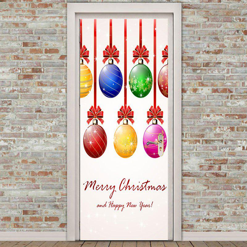Colorful Christmas Balls Pattern Environmental Removable Door Stickers - COLORFUL 38.5*200CM*2PCS