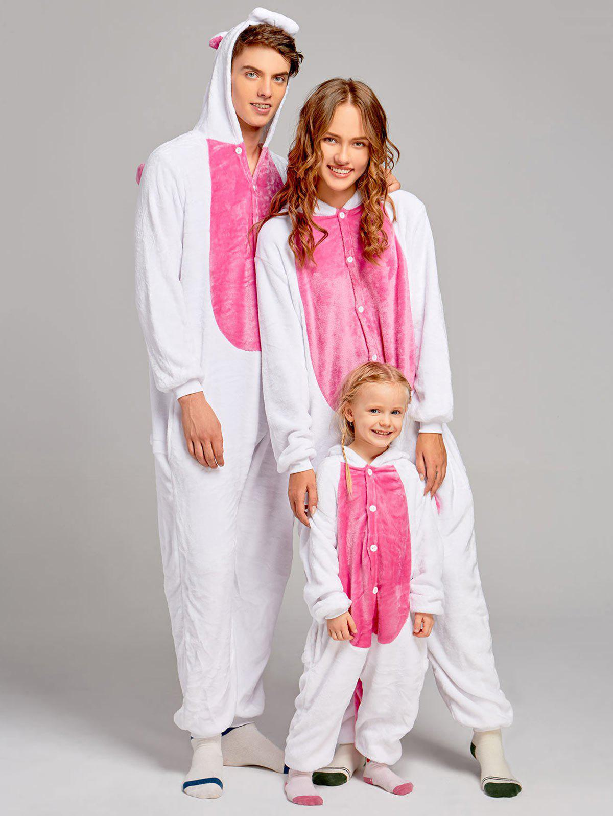 Fleece Unicorn Animal Family Onesie Pajamas - DEEP PINK DAD M