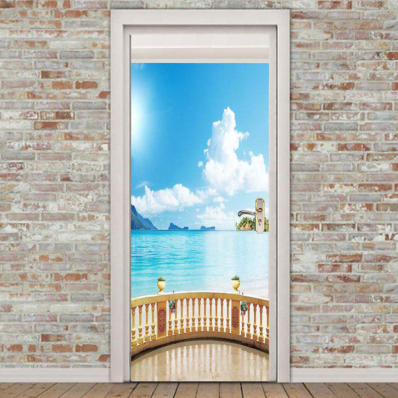 Seascape Pattern Door Cover Stickers - COLORFUL 38.5*200CM*2PCS