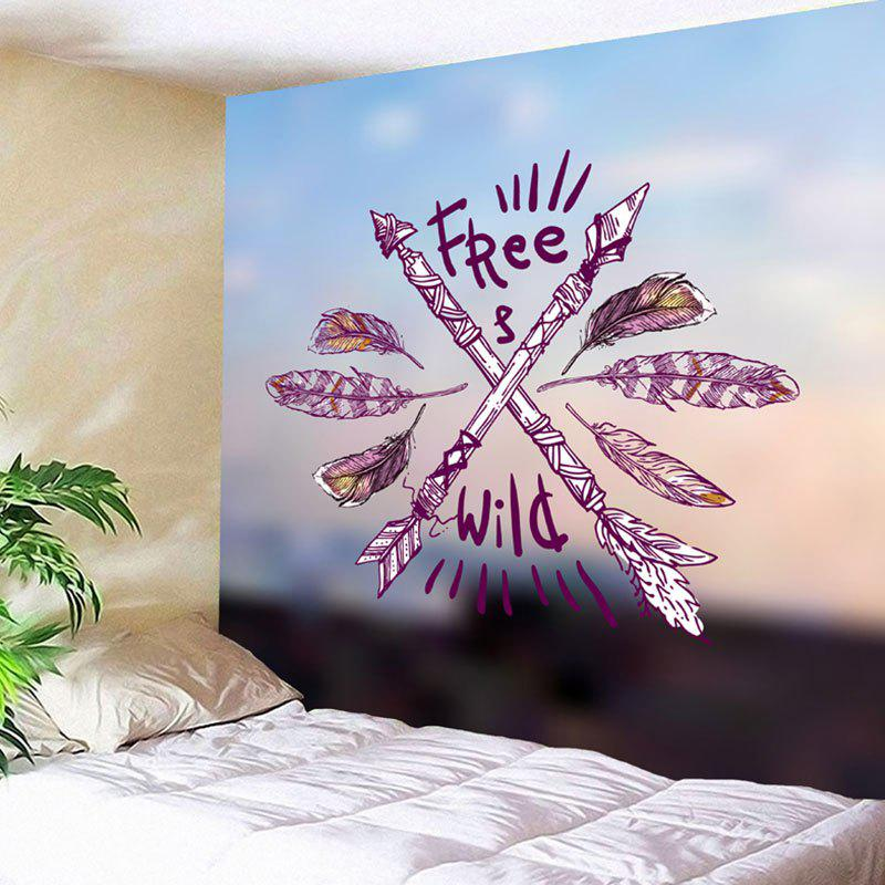 Wild Free Feather Arrows Print Wall Hanging Tapestry - COLORMIX W79 INCH * L59 INCH