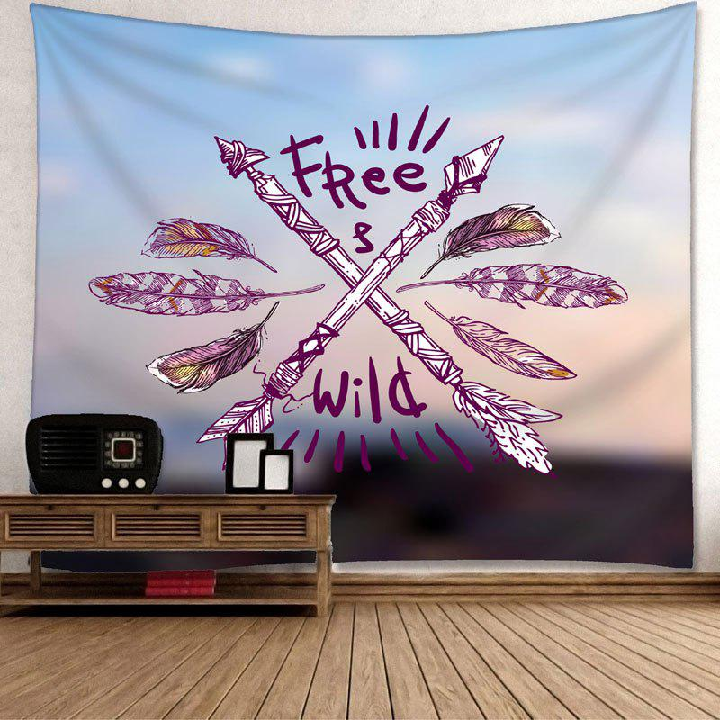 Wild Free Feather Arrows Print Wall Hanging Tapestry - COLORMIX W91 INCH * L71 INCH