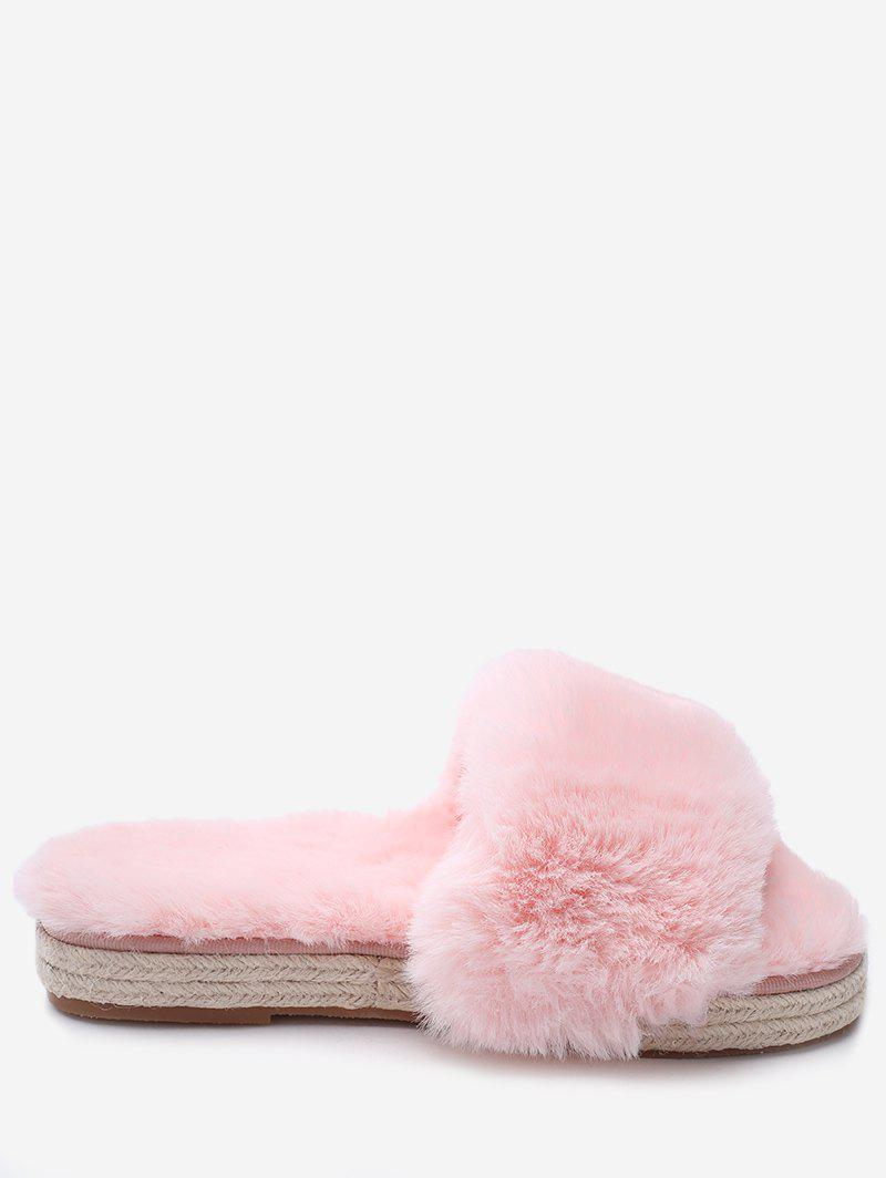 Espadrille Sole Faux Fur Slippers - LIGHT PINK 35