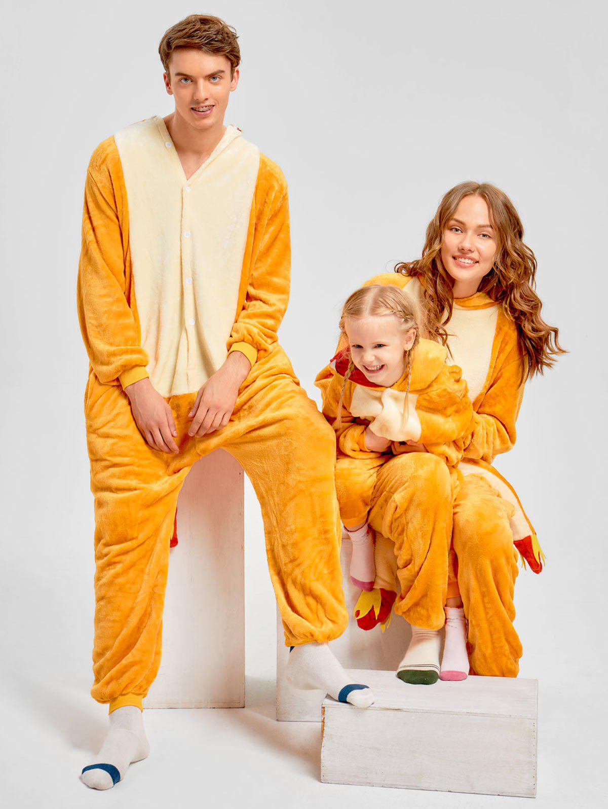 Family Christmas Fiery Dragon Animal Onesie Pajama - YELLOW DAD M