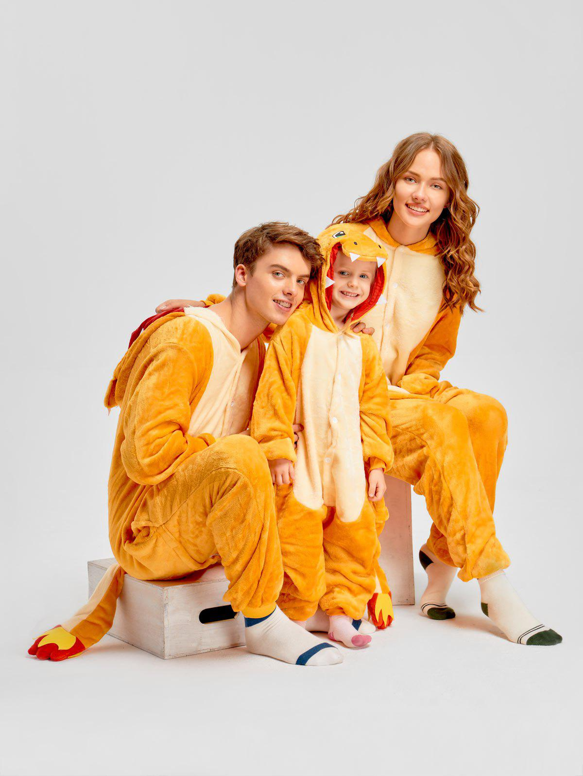Family Christmas Fiery Dragon Animal Onesie Pajama - YELLOW KID 120