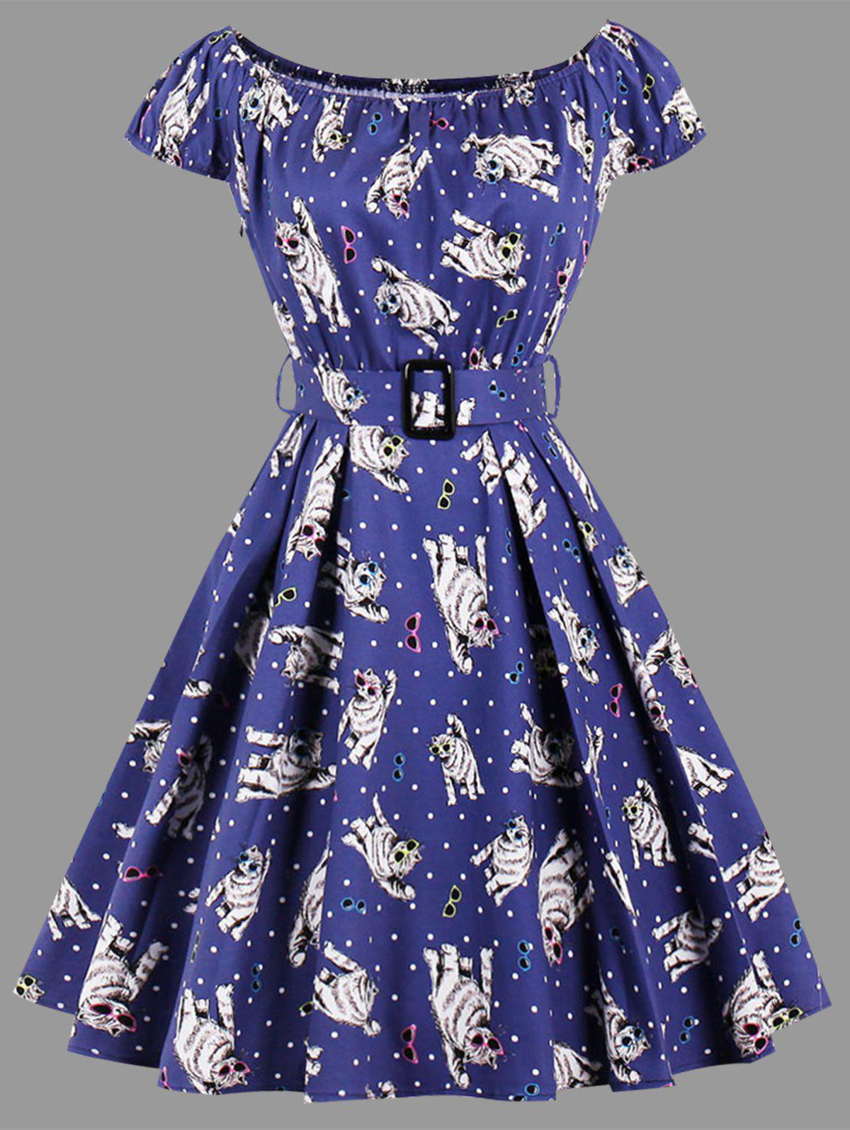 Cat Polka Dot Print Plus Size Dress - BLUE 4XL