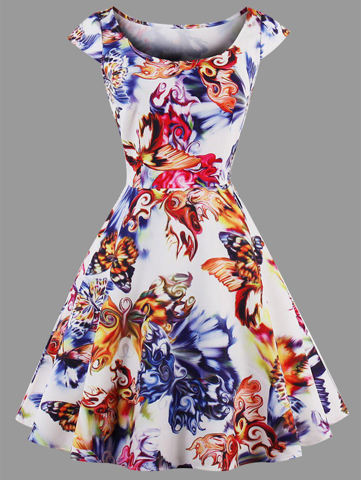 Butterfly Print Plus Size Dress - COLORMIX 2XL
