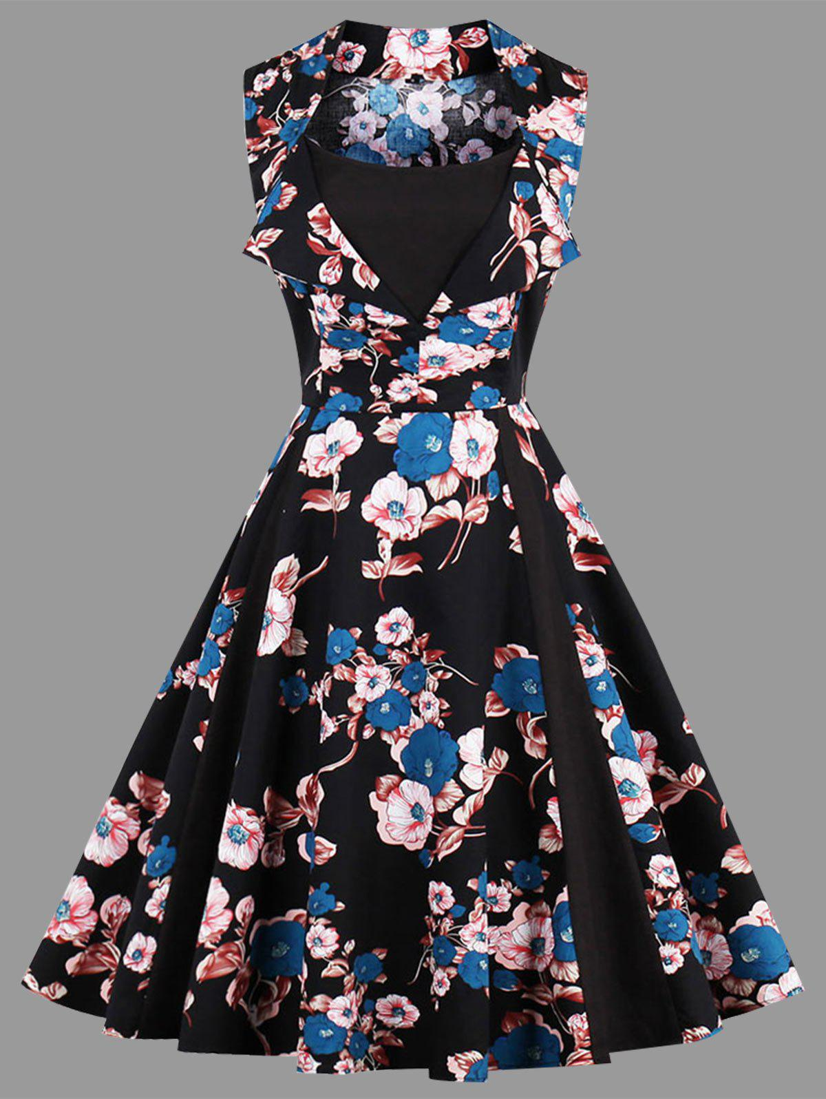 Vintage Floral Print Sleeveless Plus Size Dress - BLACK 3XL