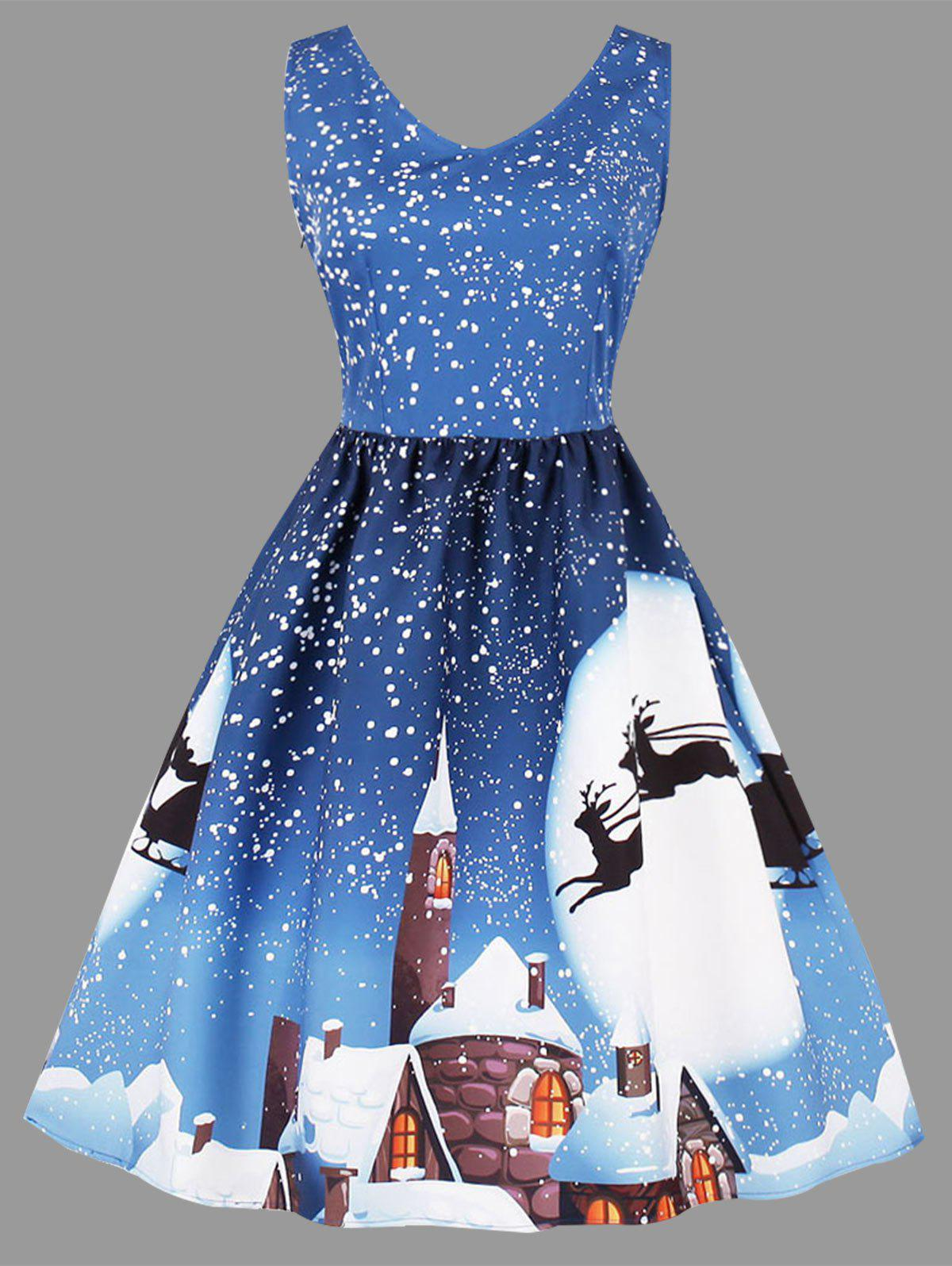 Christmas Moon Print Plus Size Sleeveless Dress - AZURE 3XL
