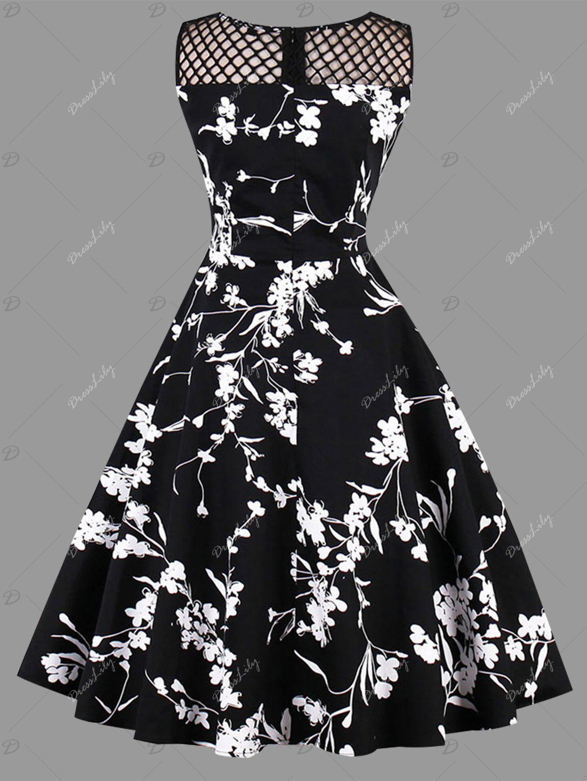 Plus Size Mesh Insert Floral Print Dress - BLACK 4XL