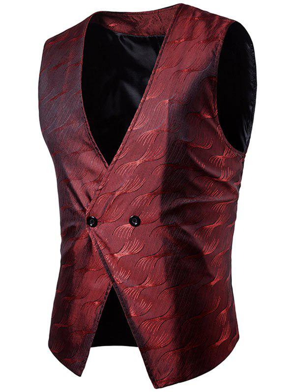 V Neck Two Button Vertigo Pattern Waistcoat - WINE RED L