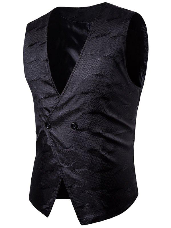 V Neck Two Button Vertigo Pattern Waistcoat - BLACK XL