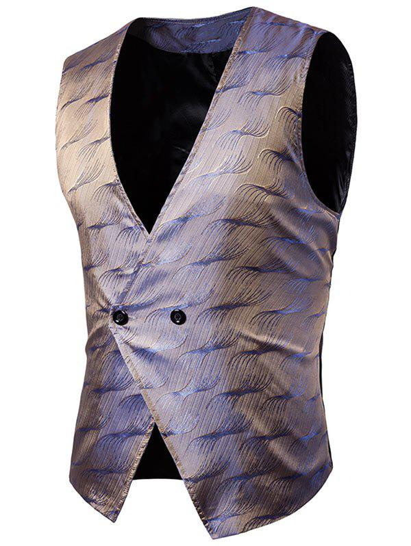 V Neck Two Button Vertigo Pattern Waistcoat - GRAY M